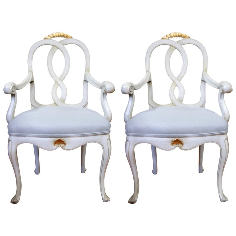 Pair of Louis XV Style Painted Armchairs Upholstered in a Belgium Linen Fabric
