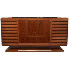 Fabulous Gaston Poisson Art Deco Sideboard in Two-Tone Mahogany, 1930s