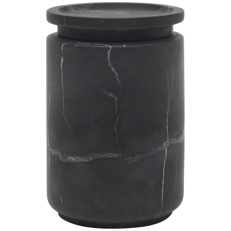 Large Pot in Black Marquinia Marble by Ivan Colominas, Italy For Sale