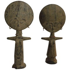 Pair of African Asante Akua'ba Fertility Dolls with Glass Beads Adornments