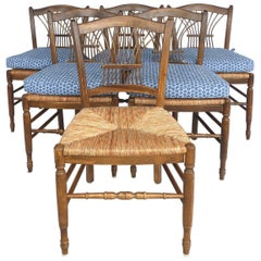 French Provincial Style Chairs with Splat Backs and Loose Cushions, Set of Six