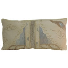 19th Century Asian Embroidered Deco Dragon Silk Bolster Decorative Pillow