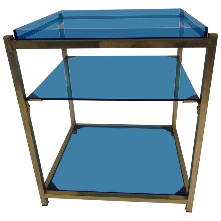 Three-Tier Blue Acrylic Brass Table For Sale at 1stdibs