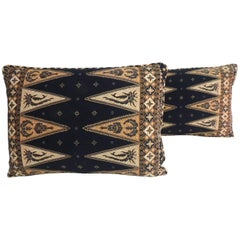 Pair of Vintage Black and Gold Batik Lumbar Decorative Pillows
