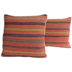 Pair of 19th Century Turkish Stripes Woven Square Decorative Pillows