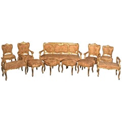Extraordinary Italian Eleven Piece Gilt Salon Living Room Suite, 19th Century
