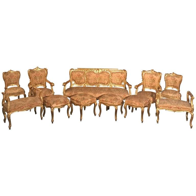 Extraordinary Italian Eleven Piece Gilt Salon Living Room Suite, 19th Century