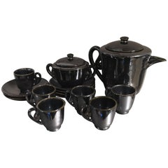 Accolay Coffee Service Earthenware Ceramic Enamelled Iridescent Black