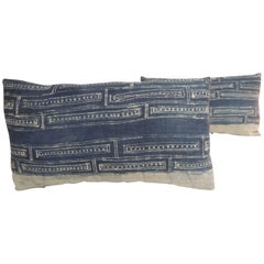 Pair of Vintage Hand Blocked White and Indigo Decorative Lumbar Pillows
