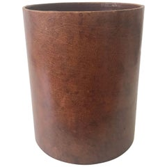 Leather Waste Paper Basket in the Style of Carl Auböck, 1950s