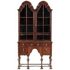 18th Century George I Walnut Display Cabinet on Stand