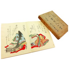 Japan Color 100 Poets Woodblock Prints Album 100 Frameable Prints, 1914