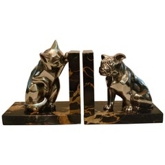 French Art Deco Cat and Bulldog Bookends by Irénée Rochard, 1930