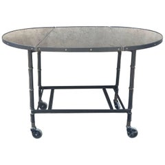 Rare French 1950s Jacques Adnet Stitched Leather Tea Table