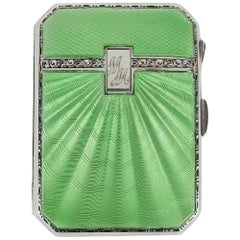 Art Deco Sterling Silver and Guilloche Enamel Cigarette Case by Joseph Gloster