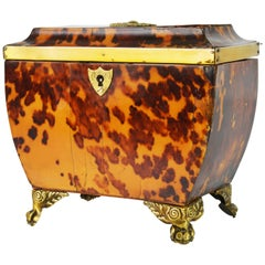 Lovely English Regency Tortoiseshell Footed Tea Caddy with Intach Interior