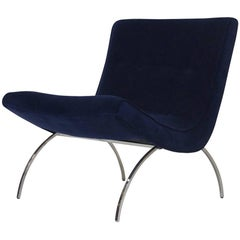 Milo Baughman for Thayer Coggin Navy Velvet Scoop Chair
