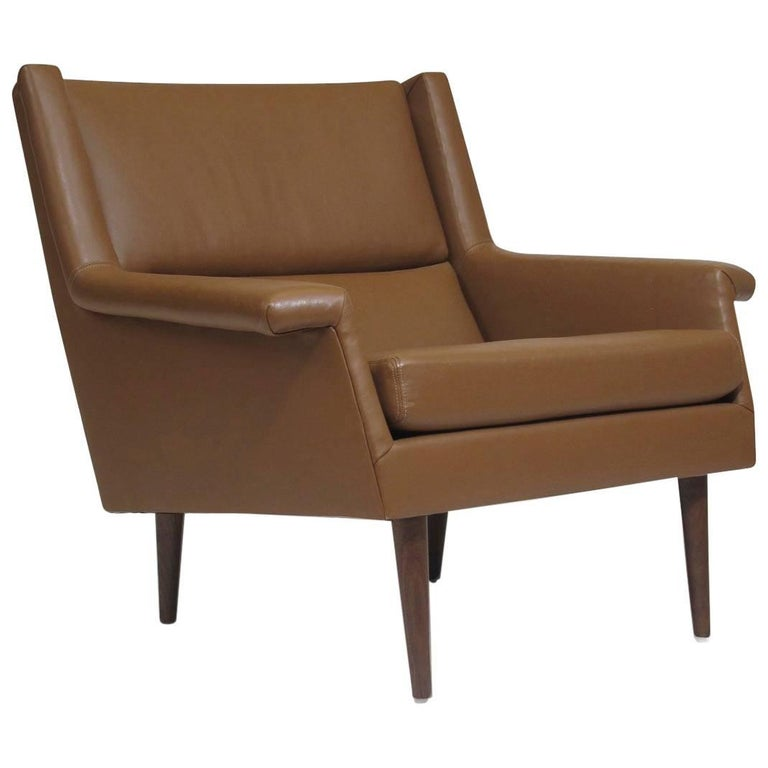 Milo Baughman for Thayer Coggin Brown Leather Lounge Chair