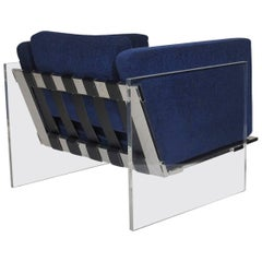 Milo Baughman for Thayer Coggin Lucite Chrome Lounge Chair in Navy