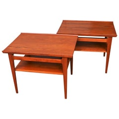 Pair of Finn Juhl Solid Teak Side Tables with Shelves Model 535 for France & Son
