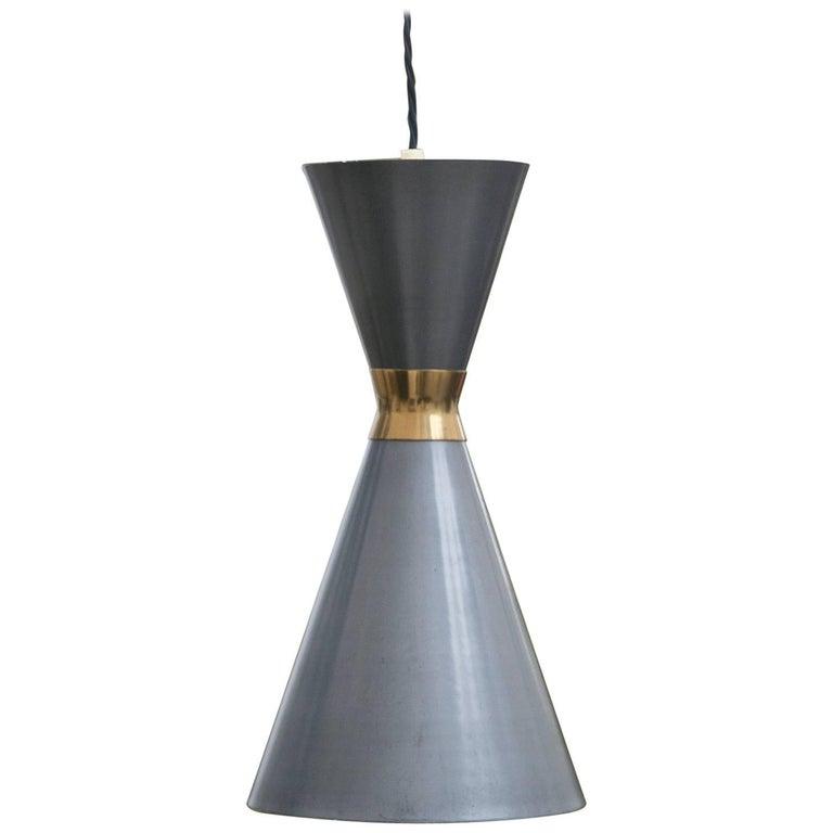 Italian Cone Grey Brass Pendant Lamp Stilnovo, 1950s
