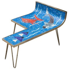 Mosaic Table Blue Ocean by Berthold Muller, Germany, 1950s