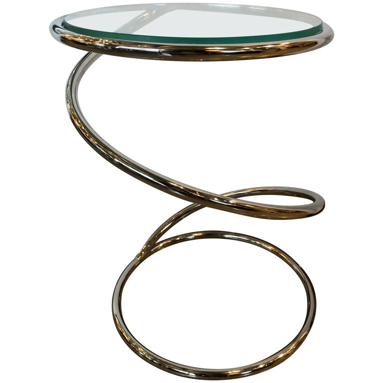 """Mid-Century Modern Pace Collection """"Spring"""" Chrome and Glass Side Table"""