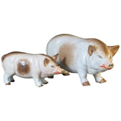 Group of Two Rare Meissen Style Porcelain Figures of Pig Sow and Piglet