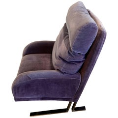1970s Purple Wool Mohair Directional Lounge Chair