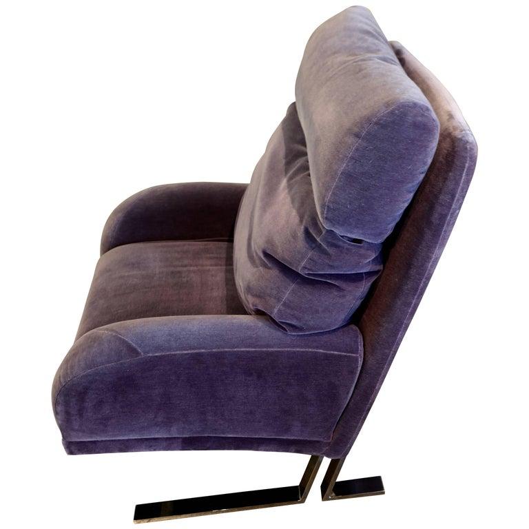 1970s Purple Wool Mohair Directional Lounge Chair