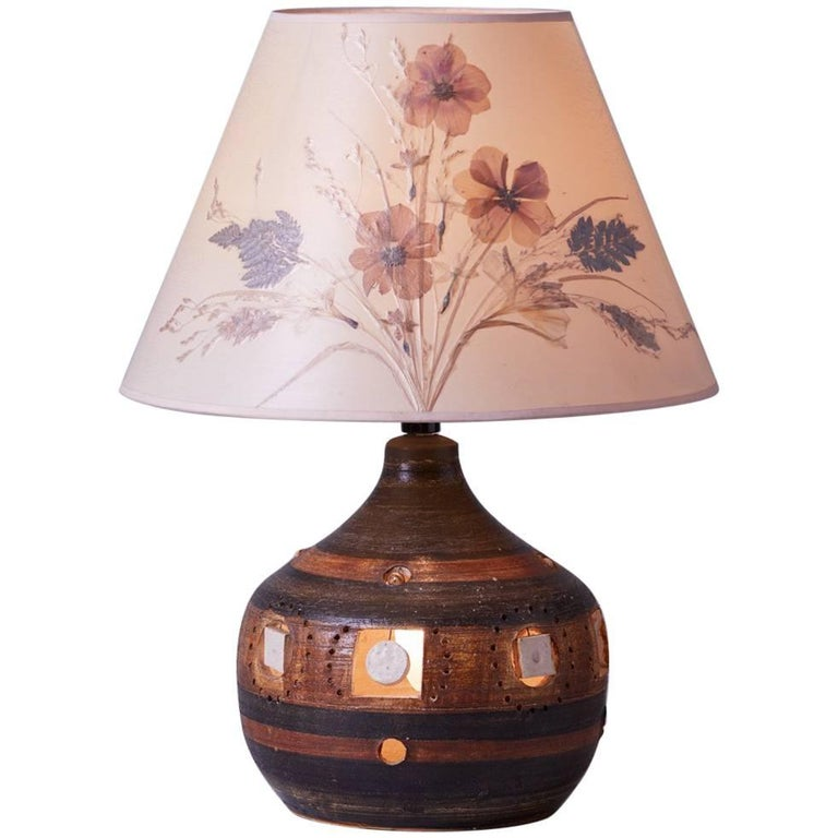 1960s Georges Pelletier Ceramic Table Lamp with Original Decoupage Floral Shade
