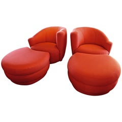 Pair of Vladimir Kagan for Weiman Chairs with Large Ottomans with Labels