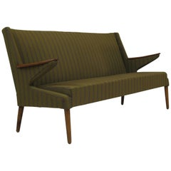 1960s Danish Sofa in the Original Green Wool with Teak Arms