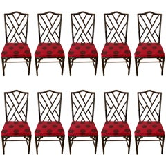 Set of Ten Chinese Chippendale Rosewood Faux Bamboo Dining Chairs