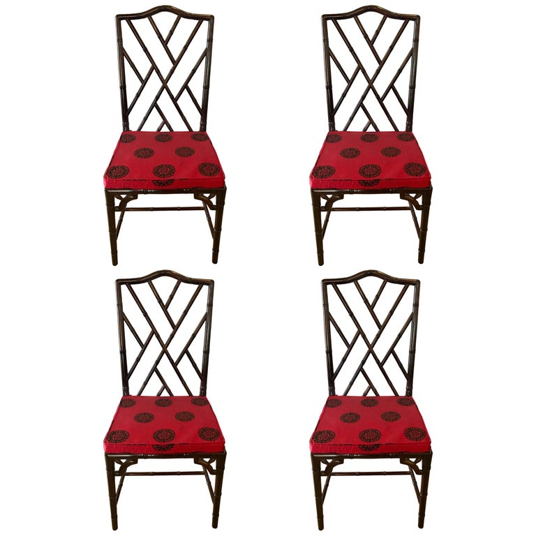 Set of Four Chinese Chippendale Rosewood Faux Bamboo Dining Chairs