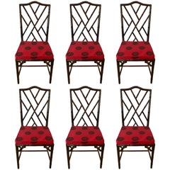 Set of Six Chinese Chippendale Rosewood Faux Bamboo Dining Chairs