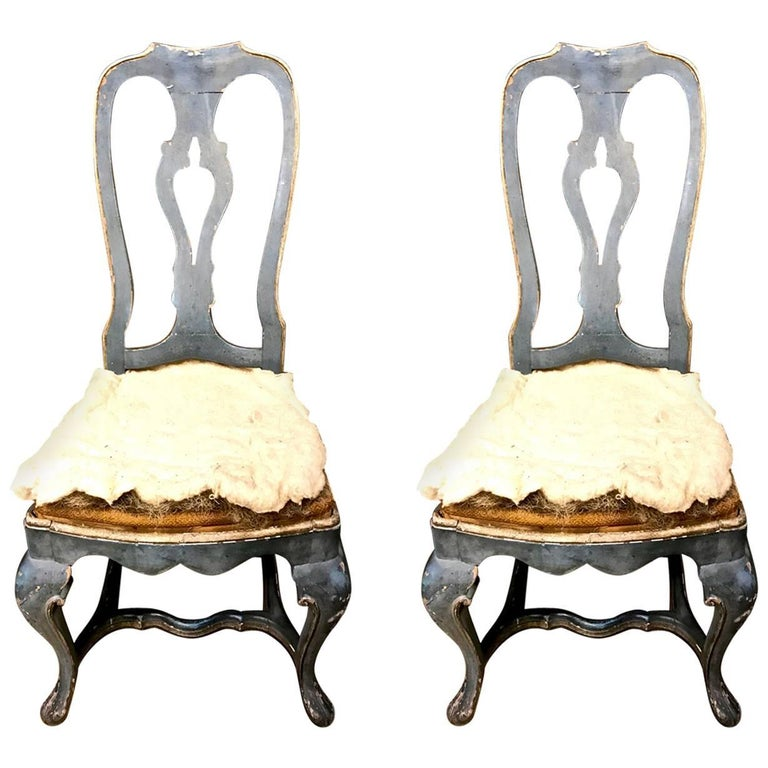 Pair of Swedish 18th Century Rococo Painted Side Chairs, circa 1760-1770