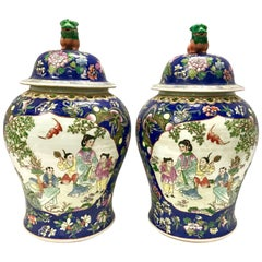 Pair of Large Blue Chinese Jars Urns Vessels with Foo Dogs