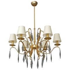 Elegant Large Italian Gilt Brass Faceted Murano Crystal Glass Chandelier, 1970s