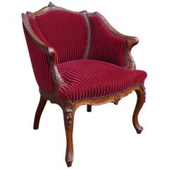 Antique and Stunning 19th Century Hand-Carved Mahogany and Red Velour Chair