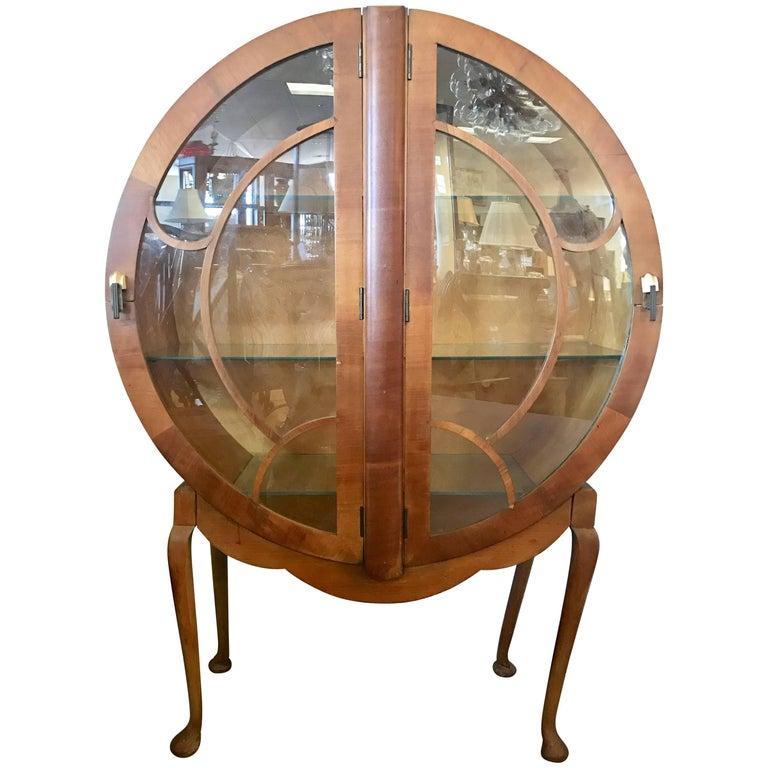 H & L Epstein 1930's Art Deco Round Bar Display Cabinet Vitrine