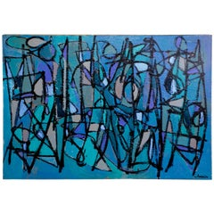 "Noted San Diego Artist Kenneth Joaquin Acrylic on Canvas Titled ""Sea Moons"""