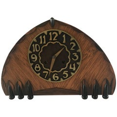 1920s Art Deco Oak, Macassar, Bronze and Ebonized Elements Mantle or Desk Clock