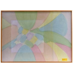 1980s Abstract Pastel Oil Painting on Canvas, Harris Strong  Label