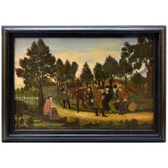 "Late 19th Century Oil American Painting ""Stagecoach Robbery"""