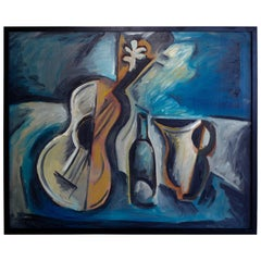 Norman Baasch Cubist Still Life of a Violin Dated 66