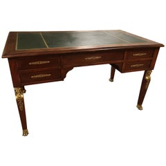 French Mahogany Leather Top Neoclassical Desk or Bureau Plat