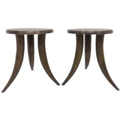 Pair of Side Tables or Stools with Tusk Form Legs, circa 1960s