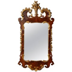 George II Parcel-Gilt Carved Walnut Mirror, 1740 In Stock