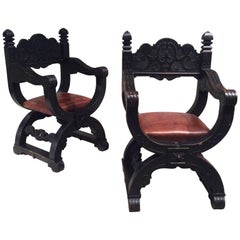Late 19th Century, Pair of Oak Dagobert Black Patina 'Seats Armchairs Chairs'